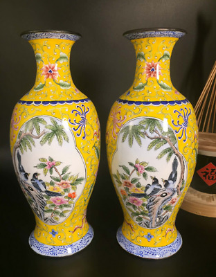 """5.11"""" A Pair Old Chinese Antique Qing Dynasty Bronze Cloisonne flower bird vase"""