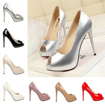 Ladies Women Peep Toe Platform Office Pumps Stiletto High Heel Party Bride Shoes