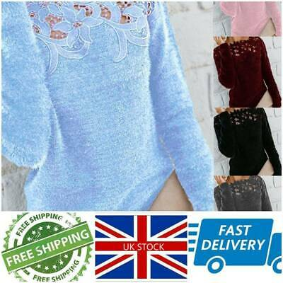 Womens Autumn Winter Warm Fleece Sweater Tops Ladies Lace Jumper Pullover Blouse