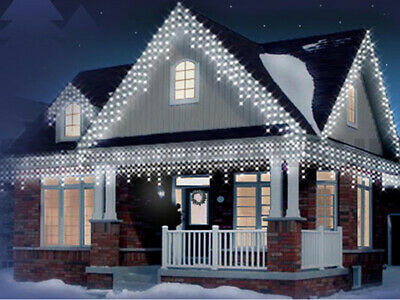 Bright White UK Mains Christmas LED Icicle Lights Outdoor,Timer,2.5M,5M,10M,20M