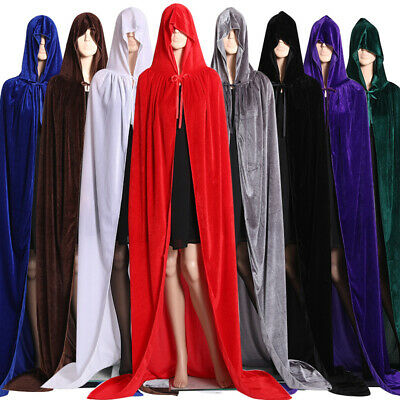 Halloween Hooded Velvet Cloak Robe Cape Medieval Cosplay Gothic Witch Costume