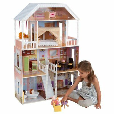 Wooden Dollhouse Furniture Doll Girls Playhouse Play House Child Toy Barbie Size