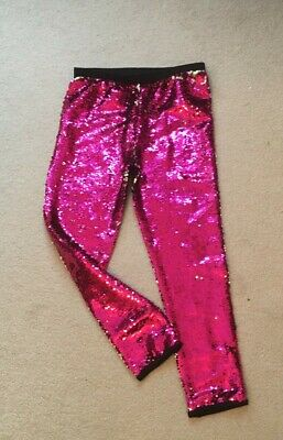 Girls Pink Sequin Party trousers  6-7 years Very Good