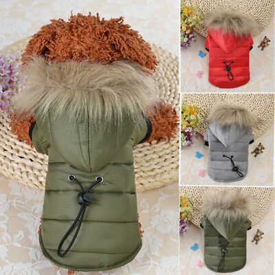Small Pet Dog Puppy Warm Coat Jacket Fur Hooded Cotton Padded Apparel Costume UK