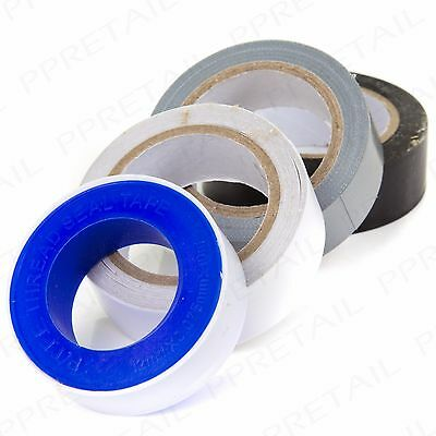 8x MIXED TAPE STICKY ROLLS SET Double Sided Duct PFTE PVC/Electrical Adhesion