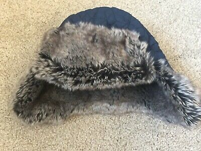 BNWOT Thinsulate Platinum Navy Faux Fur Winter Hat. Unisex. Age 1-3 Years.