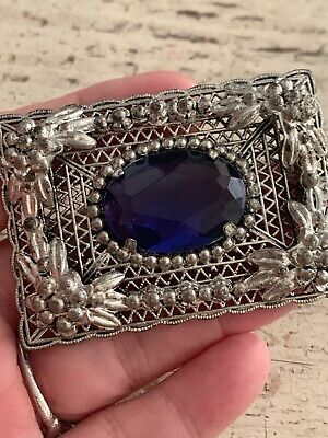 Antique Victorian Large Filigree Ornate  Brooch Pin Large Faceted Rhinestone