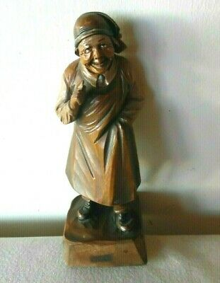 Vintage Hand Carved Wooden Old Man Shop Keeper With Apron Hat & Holding A Coin