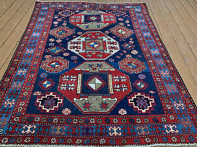 Auth: 19th C Antique kazak Rare 1900' Caucasian Rug 6x7Collectors Pc