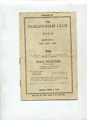 Polo Match programme UK 1926