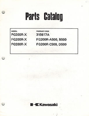 KAWASAKI  FG200R-X (see picture for codes)   AIR COOLED  ENGINES  PARTS  MANUAL