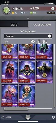 marvel collect topps digital Cosmic Entities COMPLETE SET WITH AWARDS