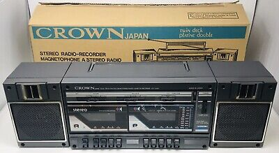 Vintage Crown CS-2200 Boombox Dual Cassette Stereo Radio - Japan