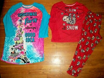 Justice Christmas Paris Nightgown Or Holiday Sloth Pajama Set Girl Sz 22 24 Plus