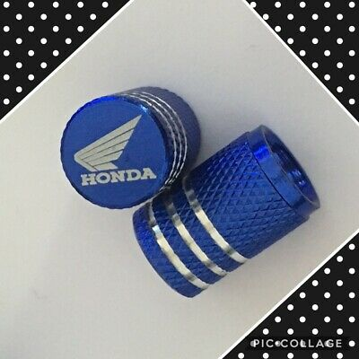 blue Honda wheel valves pair motorbike engraved universal dust caps
