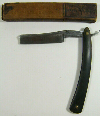 WADE & BUTCHER Straight RAZOR for BARBERS ONLY Notched Blade in BOKER Case 1800s