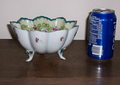 3 Footed Oriental Asian Pottery Bowl - Scalloped Rim - Hand Painted Flowers