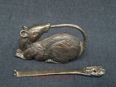 Collection Chinese Old Bronze Carving Mouse Lock Family Furniture Decoration