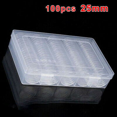 Round Clear Plastic Coin Holders Collections Storage Protection Case Capsule Box