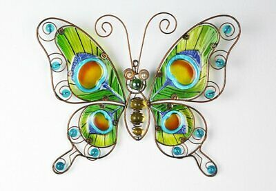 Colorful Decor Butterfly, Wall Decoration with Pfauenfederdekor in glass Leaf