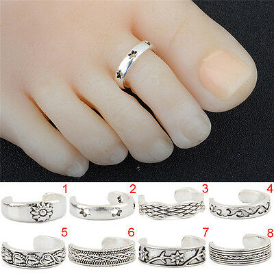 Foot Beach Feet Jewelry Girl Silver Toe Rings Adjustable Lady Knuckle Finger_CH