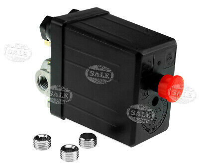 """Air Compressor Pressure Switch 1/4"""" BSP 4 Port Single Phase*Blanking Plugs"""
