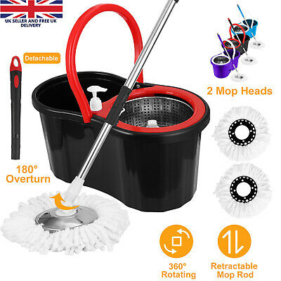 Space Saving 360° Rotating Spin Dry Mop & Bucket With 2 Microfibre Heads Cleaner