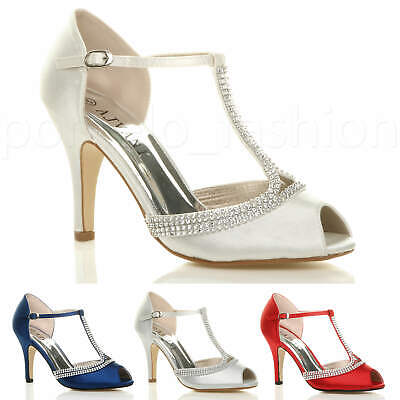 Womens Ladies High Heel Peep Toe Diamante T-Bar Wedding Prom Sandals Shoes Size