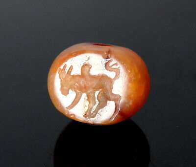 Sasanian Agate Stamp Seal Decorated With A Humped Bull (M800)