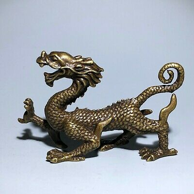 Chinese Old Vintage Solid Brass Handwork Collectible Dragon Ornament Statue