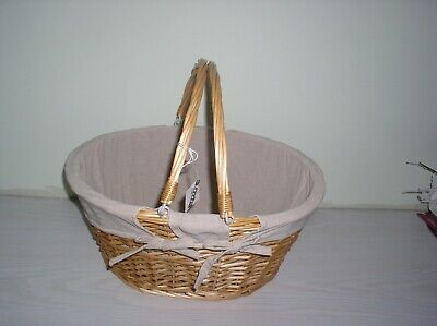 Wicker Picnic Basket With Detachable Lining For Pamper Hamper, Baby Storage, Etc