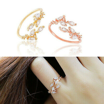Adjustable Women Gift Zircon Ladies Opening Ring Finger Ring Jewelry Fashion