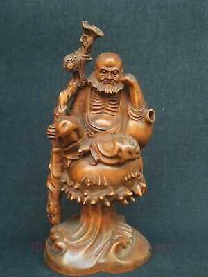 Collected China Old Boxwood Hand Carved Bodhidharma Buddha Statue Decoration