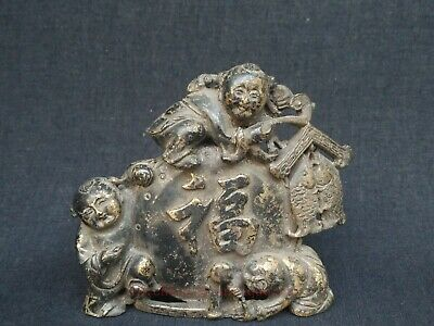 Collected Rare Ancient China Bronze Carving Riches Honour Lad Statue Decoration
