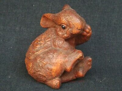 Collected Ancient China Boxwood Hand Carved Lovely Rabbit Paperweight Decoration