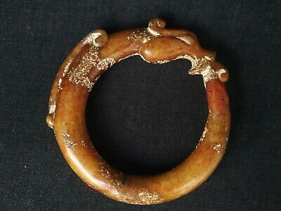 Collection Old China Natural Jade Carving Dragon Bracelet Ring or Pendant Gift