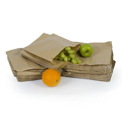 "100x Brown Kraft Flat Paper Bags Brown Food Grocery Sandwich Bags - 13"" x 14"""