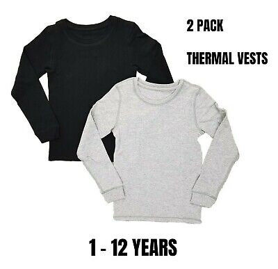 EX M+S 2 Pack Boys Long Sleeve Thermal Vests Underwear 100% Cotton Black Ski