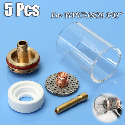 5 Pcs 47mm TIG Welding Stubby Torch Gas Lens Pyrex Cup Kit For WP-17/18/26