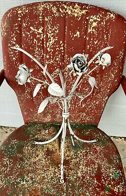 VTG Shabby garden patio Tole iron Side End Table flowers roses Plant stand base