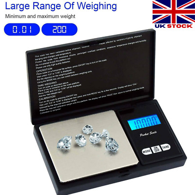 0.01G to 200 Grams Weighing Scales Mini Digital Electronic Pocket Gold Jewellery