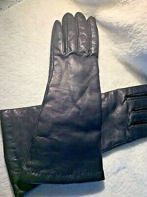 Bergdorf Goodman Black Leather Taupe Cashmere Lined Gloves Size 7
