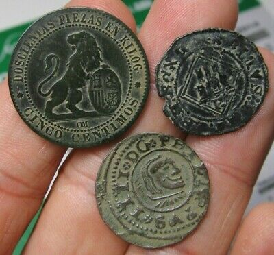 Lot 3 Dated Pirate Treasure Cobs Spanish Maravedis Colonial Old Coins