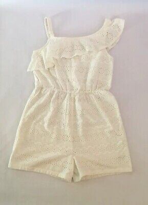 John Lewis Girls' Broderie Playsuit Jumpsuit White 12 Yrs