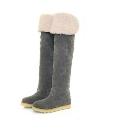 Womens Girls Over the Knee Long Boots Flat Winter Pull On Increased Warm Shoes #