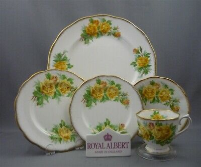 YELLOW TEA ROSE 5 Piece Place Setting (s) Royal Albert England Bone China Dinner