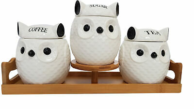 Set Of 3 Canister Set Tea Coffee Sugar Owl With Wooden Stand  Hw619