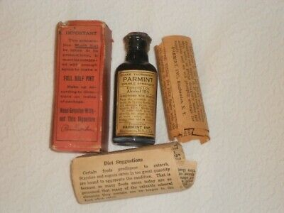 Antique PARAMINT Medicine Bottle Quack Tonic 1800s Amber Glass Full in Box