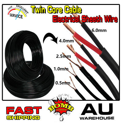 TWIN SHEATH CABLE Electrical Dual Wire 0.5mm 1.0mm 2.5mm 6mm Auto Solar Boats