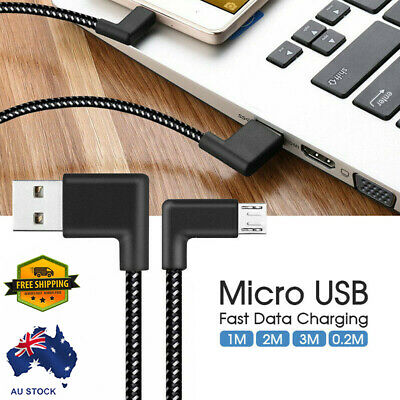 1/2/3/0.2M Braided 90° Angle Micro USB Fast Data Charging Android Cable AU Stock